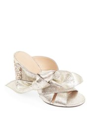 Chloe Nellie Bow Metallic Leather And Crystal Block Heel Slides Grey Glitter