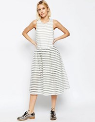 Asos White Stripe Organza Trapeze Dress White