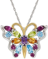 Macy's Multi Gemstone Butterfly Pendant Necklace 2 2 3 Ct. T.W. In Sterling Silver And 14K Gold Plated Sterling Silver