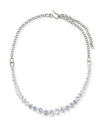 Fallon Monarch Graduated Crystal Choker Necklace Silver