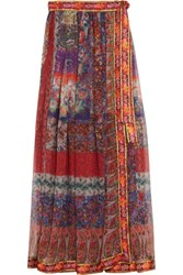 Etro Embroidered Printed Silk Chiffon Wrap Maxi Skirt