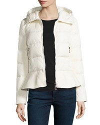 Moncler Nesea Quilted Puffer Coat W Wool Trim Black