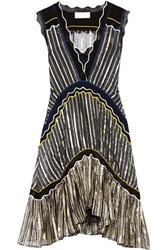 Peter Pilotto Silk Blend Trimmed Metallic Chiffon Dress Midnight Blue