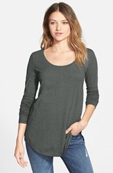 Junior Women's Bp. Scoop Neck Long Sleeve Tee Grey Urban