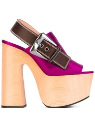 Rochas Slingback Platform Sandals Women Wood Leather Silk Satin Rubber 36 Pink Purple