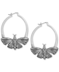 Lucky Brand Silver Tone Pave Butterfly Hoop Earrings