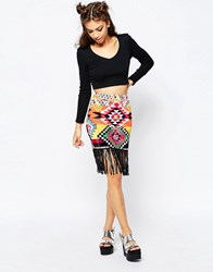 Jaded London Fringe Skirt Multi