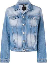 Paul Smith Ps By Faded Effect Denim Jacket Blue