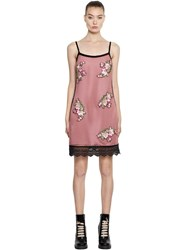 House Of Holland Mini Mesh Dress W Floral Patches Pink