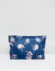 Chi Chi London Envelope Clutch Bag In Satin Floral Print Multi