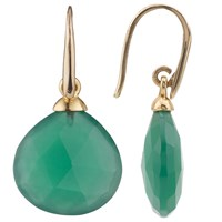John Lewis Gemstones Gold Plated No Collet Tear Drop Earrings Green Onyx