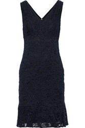 Donna Karan Woman Fluted Corded Lace Dress Navy