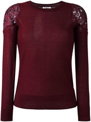 Sonia Rykiel By Lace Panel Knitted Top Pink Purple