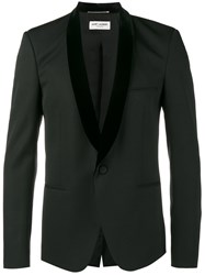 Saint Laurent Velvet Shawl Lapel Jacket Men Silk Cotton Cupro Wool 44 Black