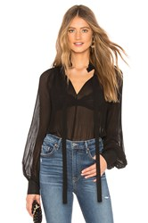 Endless Rose Front Tie Pleated Blouse Black
