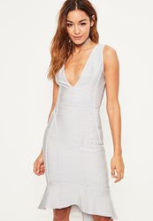 Missguided Grey Bandage Plunge Frill Hem Midi Dress