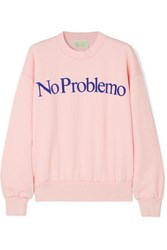 Aries No Problemo Flocked Cotton Fleece Sweatshirt Pastel Pink