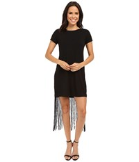Brigitte Bailey Adeline Short Sleeve Fringe Dress Black Women's Dress