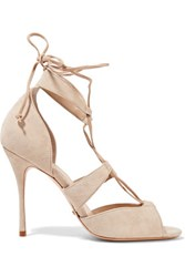 Schutz Clove Lace Up Suede Sandals Off White