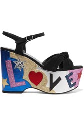 Saint Laurent Candy Embellished Suede And Leather Platform Sandals Black