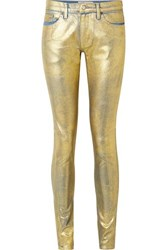 Tre By Natalie Ratabesi The Gold Edith Metallic Coated Mid Rise Skinny Jeans