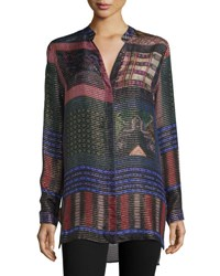 Etro Long Sleeve Woven Metallic Tunic Blouse Black Multi