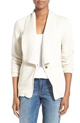 Women's Caslon Roll Sleeve Knit Blazer Oatmeal White Pattern