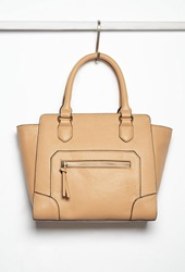 Forever 21 Pebbled Faux Leather Satchel Camel