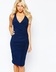 Love Wrap Front Bodycon Pencil Dress With Cross Back Navy