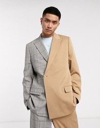 Jaded London Spliced Suit Jacket With Buckle In Brown And Grey Check