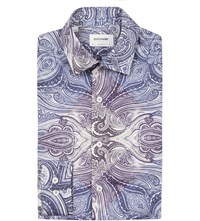 Duchamp Paisley Print Tailored Fit Cotton Shirt Blue