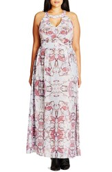 City Chic Plus Size Women's 'Mystery' Print Keyhole Maxi Dress