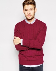 Ben Sherman Cable Knit Jumper Red