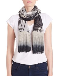Collection 18 Feather Print Fringe Scarf Black
