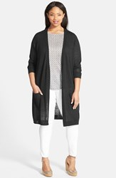 Plus Size Women's Halogen Open Front Long Cardigan Black