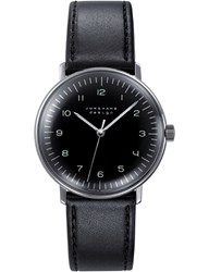 Junghans 027 3702.00 Max Bill Stainless Steel And Leather Watch Black