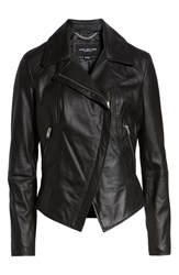 Marc New York Feather Leather Moto Jacket Black