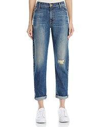 Current Elliott The Fling Studded Boyfriend Jeans In Whiskey Destroy