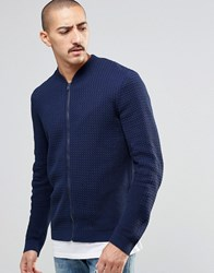 Asos Knitted Cable Bomber In Navy Navy