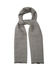 Alexander Mcqueen Prince Of Wales Checked Wool Scarf Grey Multi