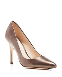 Cole Haan Emery Metallic Pointed Toe Pumps Dark Silver
