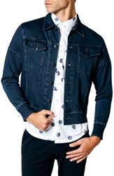 Good Man Brand Trim Fit Wool Blend Denim Jacket Real Indigo