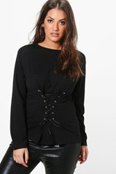 Boohoo Maisie Corset Detail Sweat Top Black