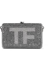 Tom Ford Crystal Embellished Suede Clutch Silver