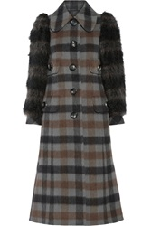 Marc Jacobs Faux Fur Paneled Plaid Wool And Alpaca Blend Coat