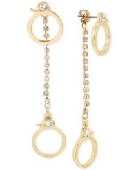 Betsey Johnson Gold Tone Crystal Handcuff Drop Earrings