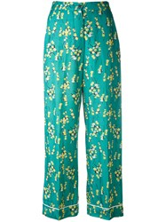 Sonia Rykiel By Floral Print Cropped Trousers Women Viscose 36 Green