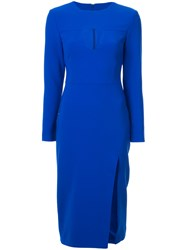 Christian Siriano Cut Out Detail Midi Dress Blue
