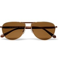 Berluti Oliver Peoples Conduit St Aviator Style Gold Tone And Acetate Polarised Sunglasses Brown