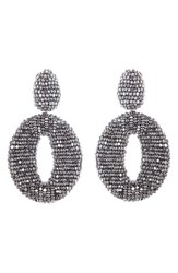 Oscar De La Renta Women's Beaded Frontal Hoop Earrings Silver